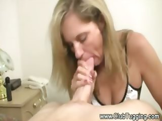 aged cleaning lady puts her hands and face hole