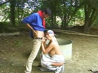 blond older hippie playgirl munches his cock