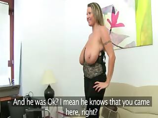 aged woman fucking on leather ottoman
