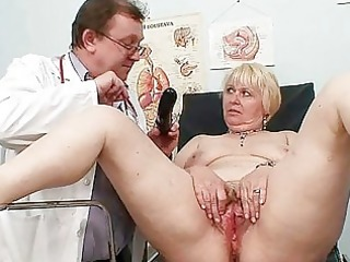 corpulent golden-haired mommy hairy pussy doctor