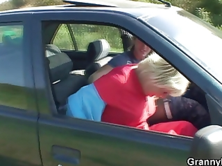 granny receives screwed in the car