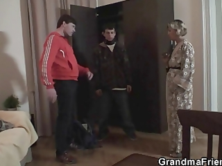 mommy finds robbers and makes em group sex her