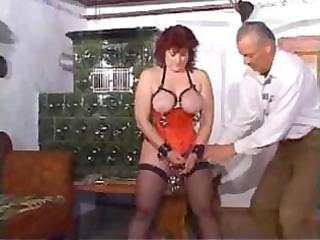 aged lady has pierced teats and pussy in some