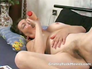 granny toying her new hairless twat