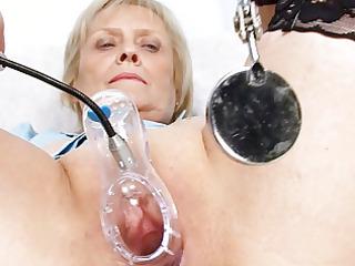 blond granny nurse self exam with snatch spreader