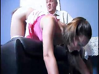 older man punishes a angel