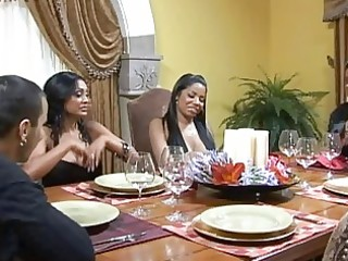 stunning breasty dark brown wifes at the table