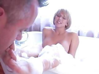 older blonde acquires her gazoo licked by her