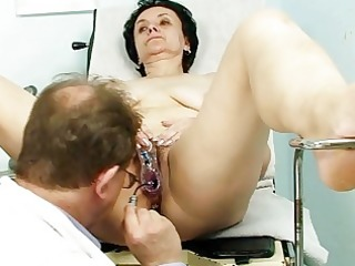 old brunette hair granny acquires her old twat