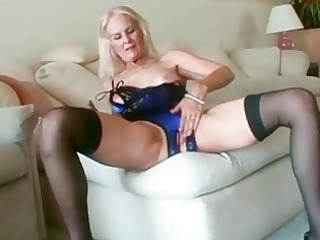 hawt golden-haired granny toys her fur pie in
