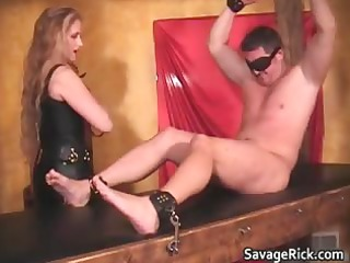 sexy dark leather golden-haired milf honey