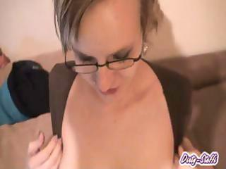 mother i sweetheart in glasses shows off her milk