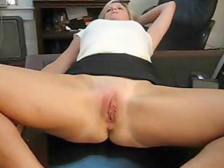 mature golden-haired secretary spreads her legs
