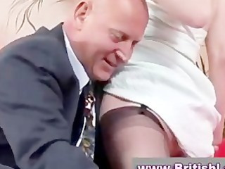 aged british lady in nylons is licked by