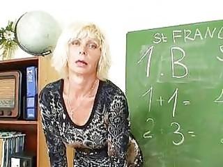 lewd matured golden-haired teacher in nylons
