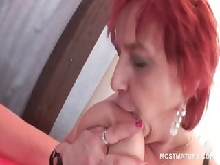 aged horny redhead licking mambos and rubbing