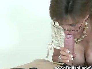 naughty aged femdom wench sucks dick