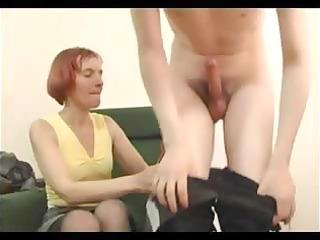 slim granny in open pantyhose copulates a guy