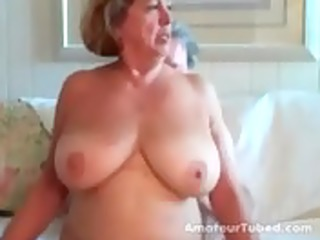 large boobed aged woman rides her husband 10 wear