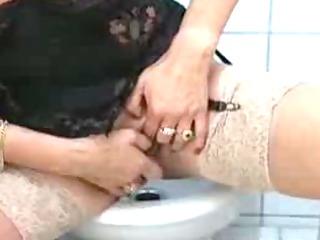 granny rubbing one off in the latrine