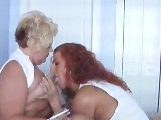.hot mature breasty women smokin and playing
