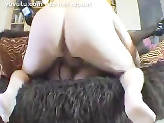 wife in fishnets receive fucked on the couch