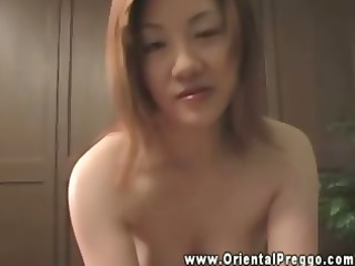 oriental preggy older engulfing on pounder and
