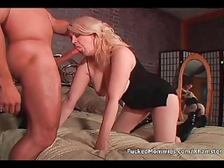 breasty mama gives head and receives unshaved