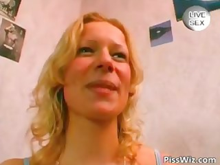 golden-haired milf piddles in bath as then part1