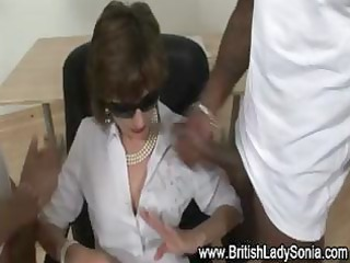 aged lady sonia sucks cock like a champ in her