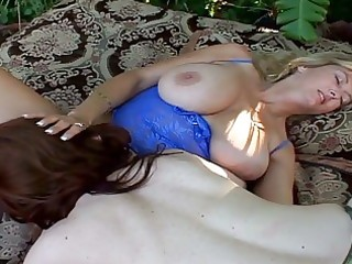 breasty aged lesbos sharing a double didlo