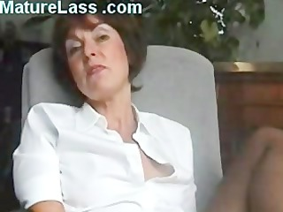 sexy british older talks bawdy and widens legs to