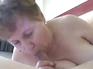 old granny sucks wang and he is cum in her face