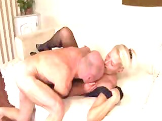 older blond toys herself and then gets licked and