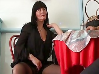 concupiscent older brunette hair seduces cu...