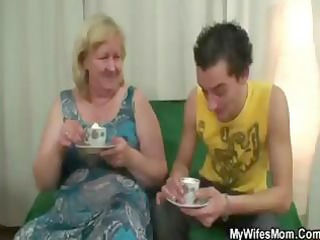 obese blond granny has tea and gets nailed in her