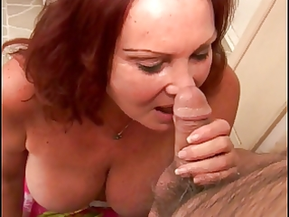 redhead granny with large floppy love melons