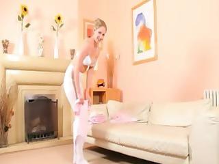 sexy mamma in white hose strip