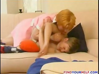 redhead russian milf blows him on the couch and