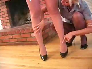 slim blond milf boss receives her bulky assistant