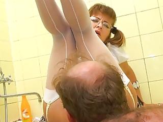 grandfather licking youthful hirsute twat
