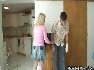 bigcocked boy is drilling his wifes mom pussy