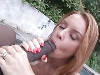 enormous chested redhead momma sucks giant dark