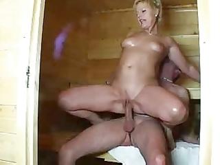 older and stranger in sauna