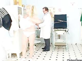 indecent old golden-haired aged slut receives