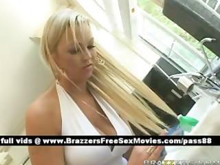 super older blond girl at home