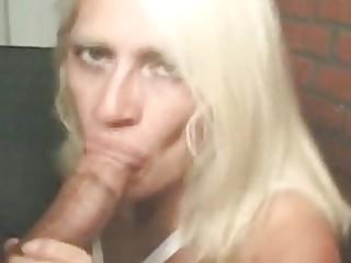 blond mama sucks a corpulent dick