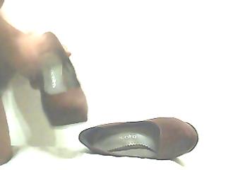 fuck and cum in wife brown heels