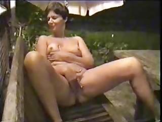 lascivious older wife masturbates in court yard