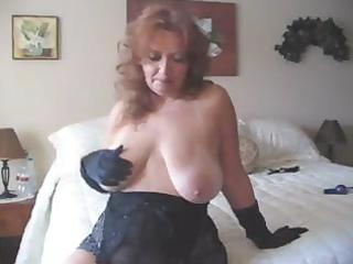 busty older goes solo and wears her masturbation
